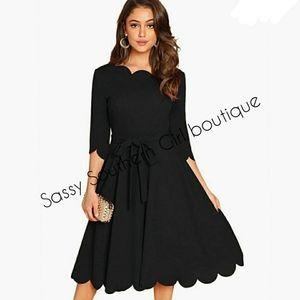 🆕⭐ Black scalloped Aline dress